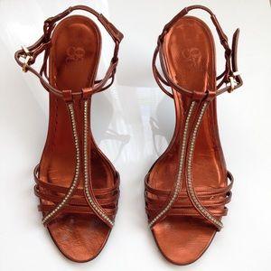 CoOp New York Copper Leather Jeweled Kitten Heels